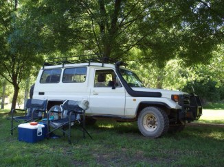 Landcruiser at Micalong Creek Reserve, Wee Jasper, New South Wales, Australia