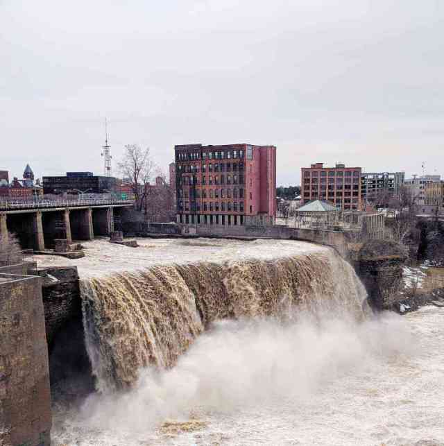 High Falls Rochester NY Genesee River high water flow