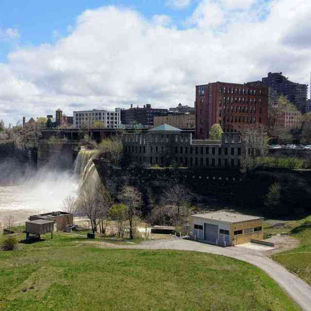 High Falls Rochester NY Genesee River west-side waterfall view
