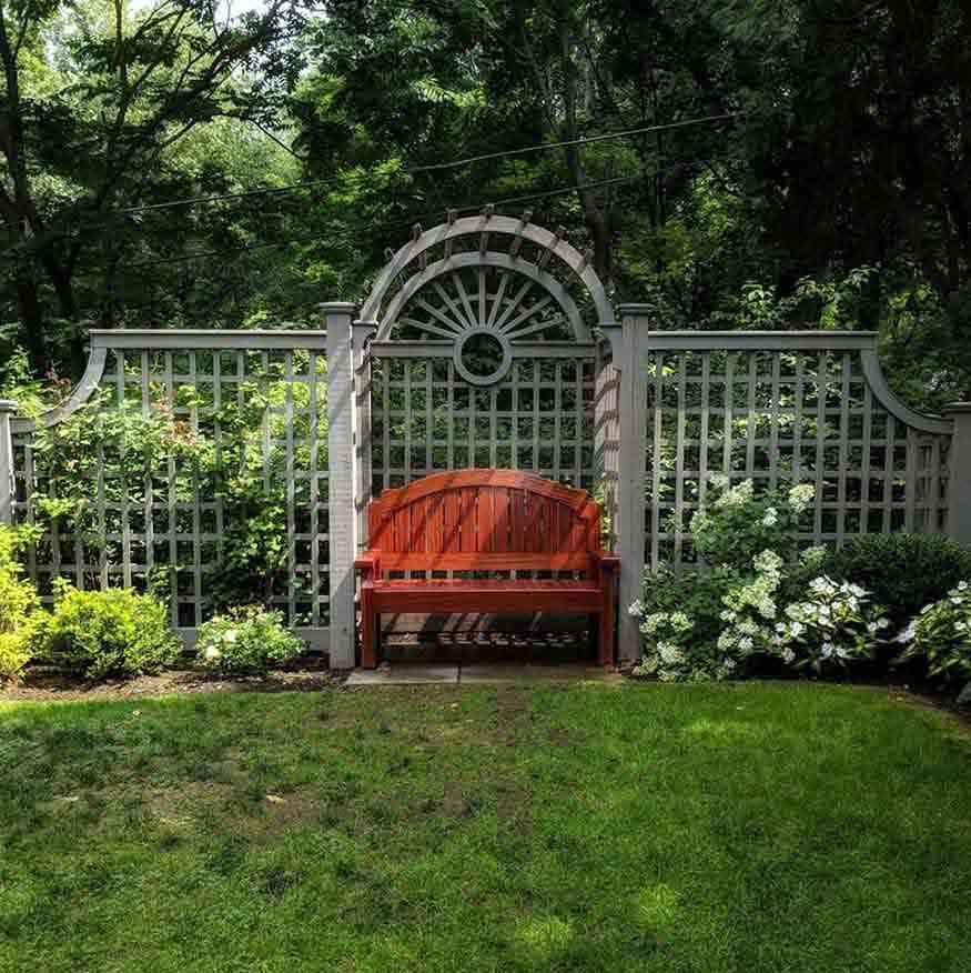 Warner Castle Sunken Garden wooden bench