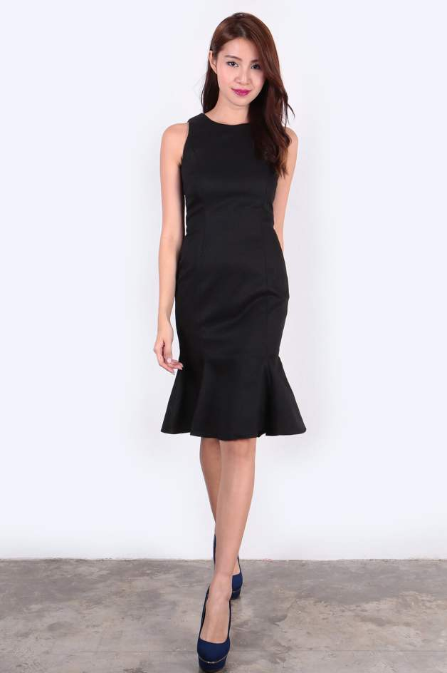 Embossed Mermaid Dress (Black) - SGD$ 42.00 (Available in Grey color)