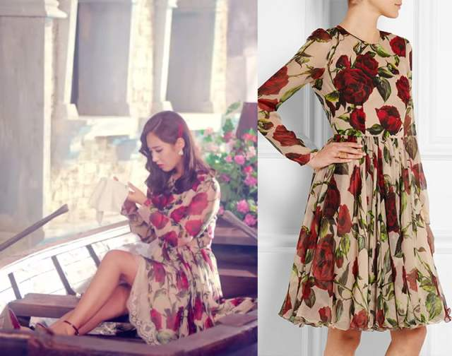 Yuri in Dolce and Gabbana floral-print silk-chiffon dress.