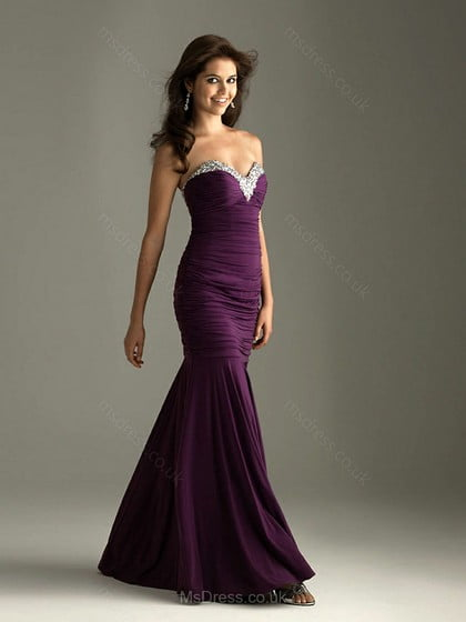 Trumpet/Mermaid Sweetheart Elastic Woven Satin Floor-length Rhinestone Prom Dresses