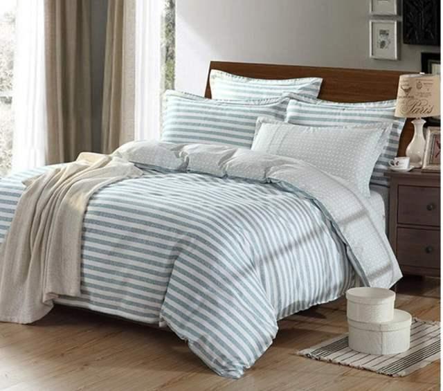 4PCS 100% Cotton Printed Wedding Bedding Sets (Blue) - MYR 396.00