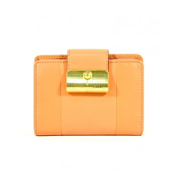 COACH Kristin Short Leather Wallet In Peach