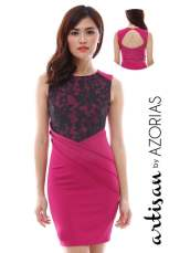 Embroidered organza front shift dress with cutout back (Fuchsia)