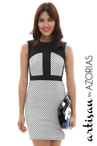 Netted print block panel dress