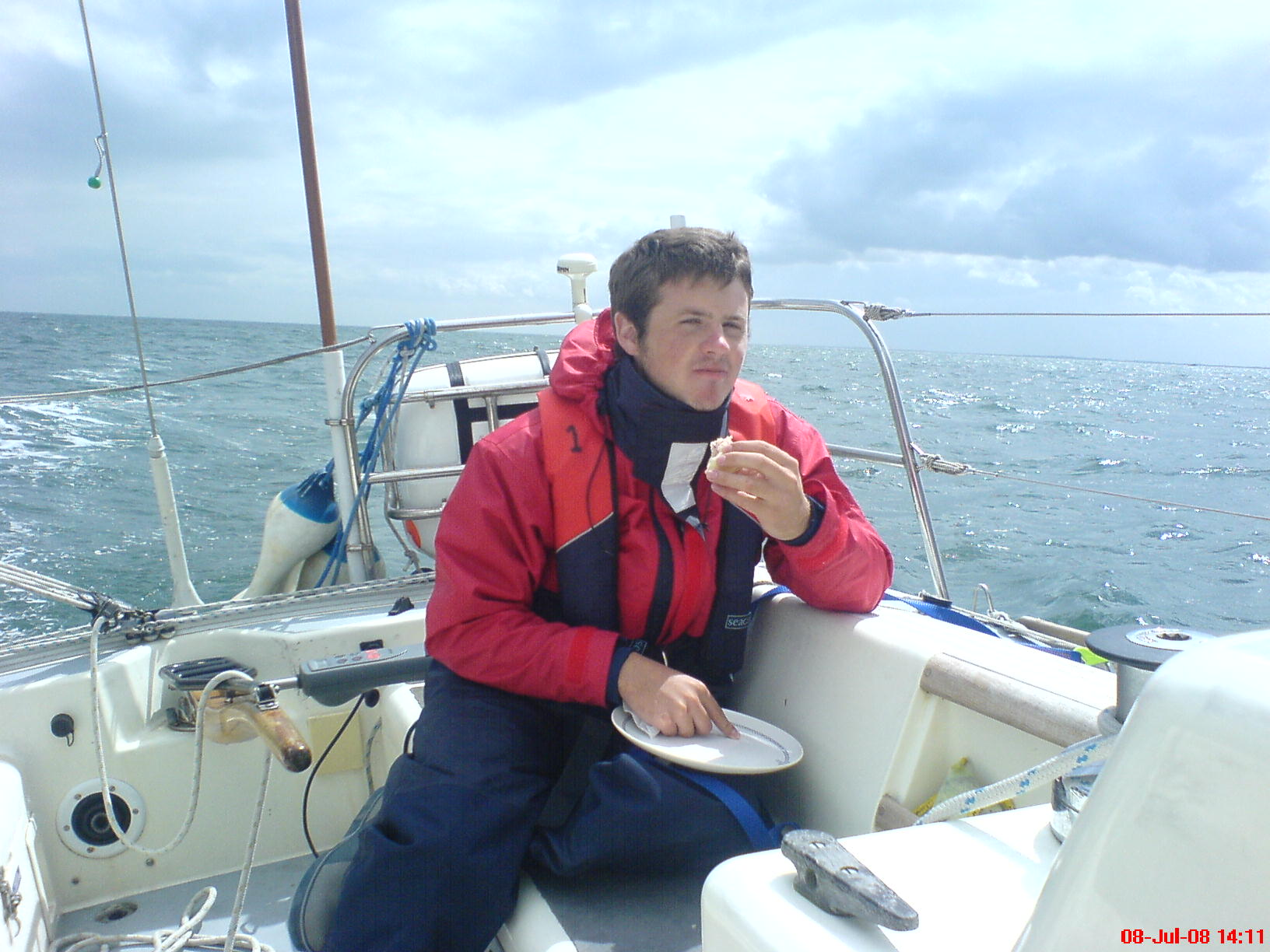Bob enjoying lunch crossing the wash, Wells to Whitby.