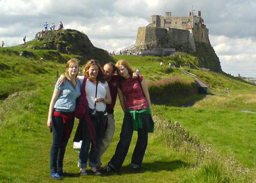 Rosie, Rachel, Keith and Emma on Holy Island. Eyemouth to Arbroath.