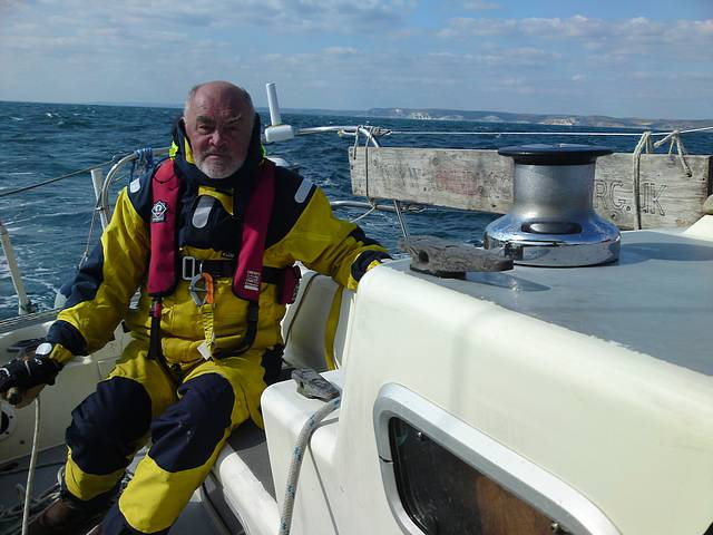Brian sailing Weymouth Bay, passage Torquay to Poole.