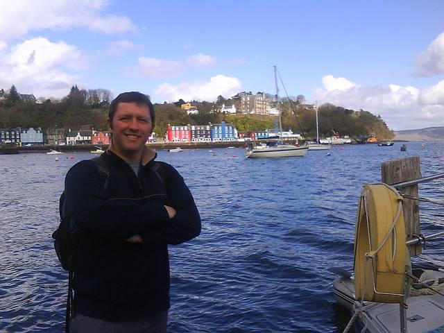 Eddie at Tobermory, Mull.  Passage Oban to Ullapool