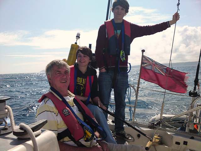 Richard and my sons Mark and Darren.  Passage Falmouth to Dartmouth.