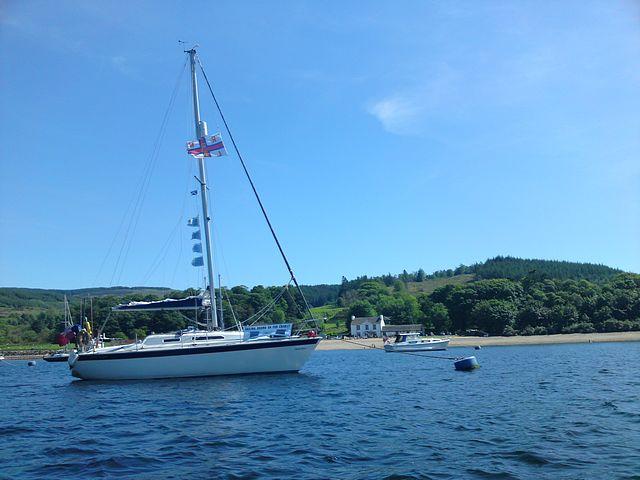 Christine Marie moored off the Oyster Bar, Otter Bay, Upper Loch Fyne.