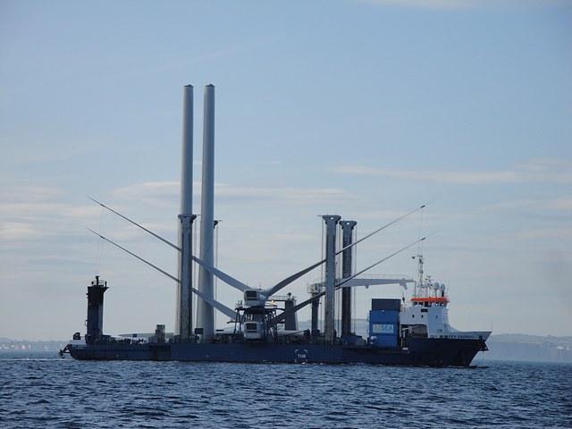 Ship carrying it's cargo of wind turbines, Belfast Lough