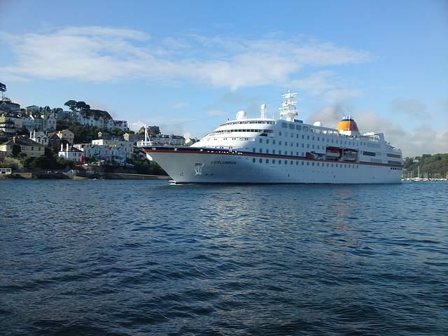 Cruise ship leaving Fowey.