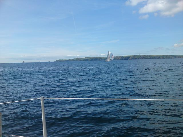 Passing Lands End on passage to Falmouth.