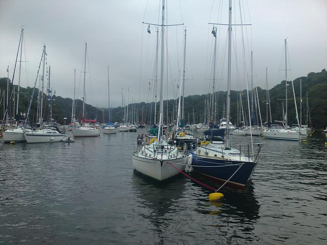 Yachts rafting at Fowey.