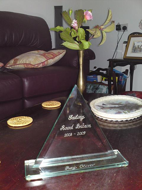 Sailing Trophy presented by friends on arrival back home.