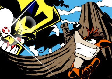 Crash Bandicoot drawn in the style of Gurren Lagann