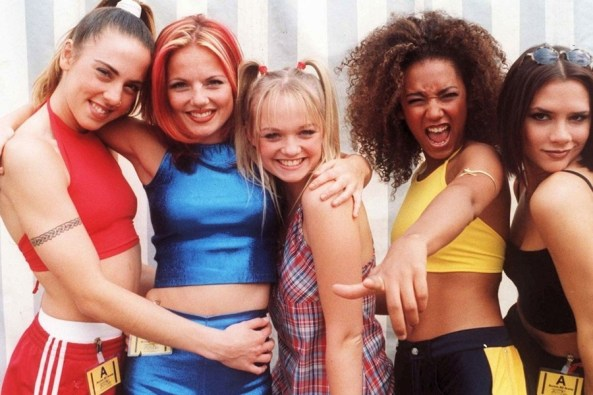Spice Girls wearing their iconic looks, such as crop tops. Potential look inspiration for Snatch Game?