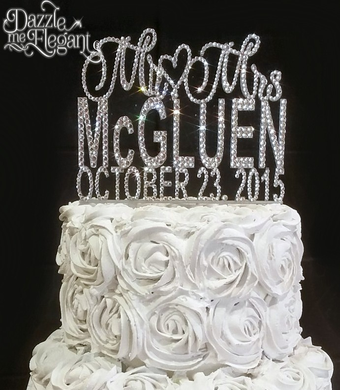 Affordable Crystal Monogram Cake Toppers   Crystal Cake Banding     Mr   Mrs Crystal Rhinestone Name with Date Wedding Cake Topper