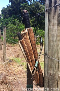 Walking down the street we see this machete hanging on a fence.