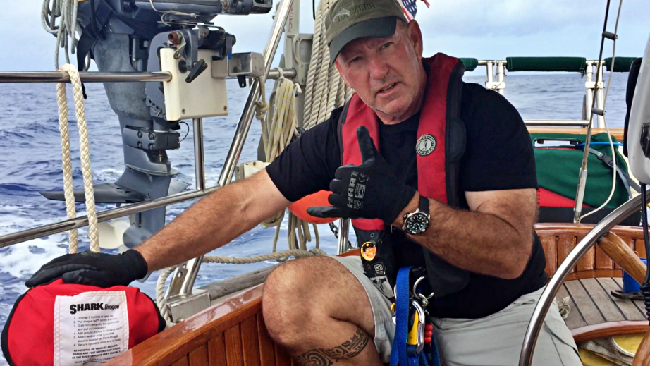 Captain Dan shows the Shark Drogue we have on board for extreme weather conditions.