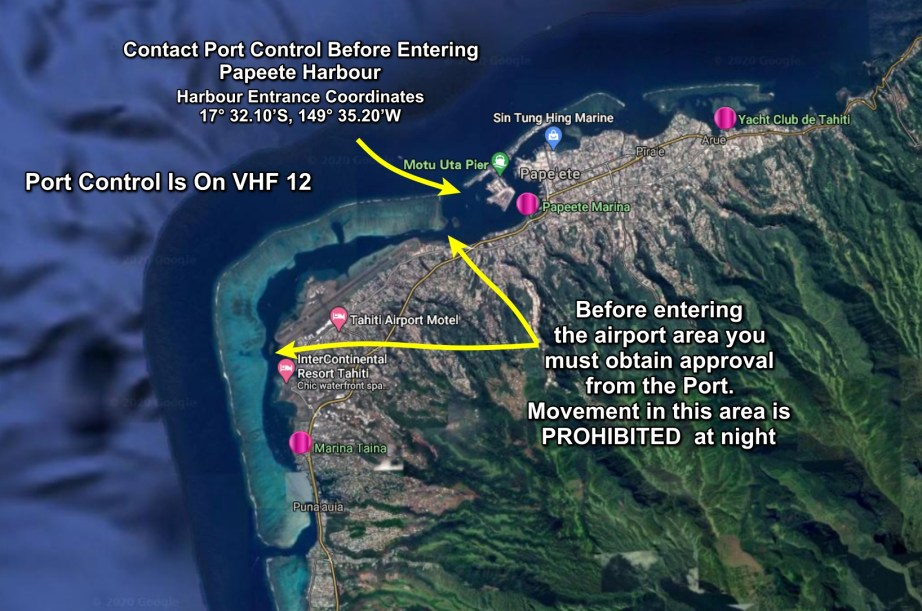 Overhead view of Papeete Harbor showing marinas, port control information and airport zone.