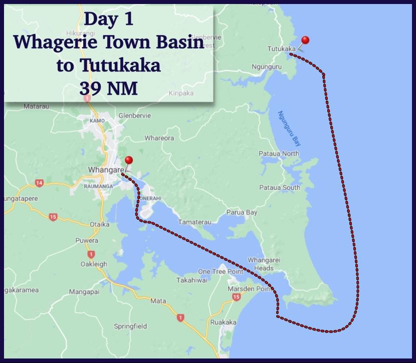 Route from Whangerie to Tutukaka
