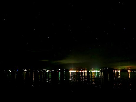 Bay view of Paihia at night