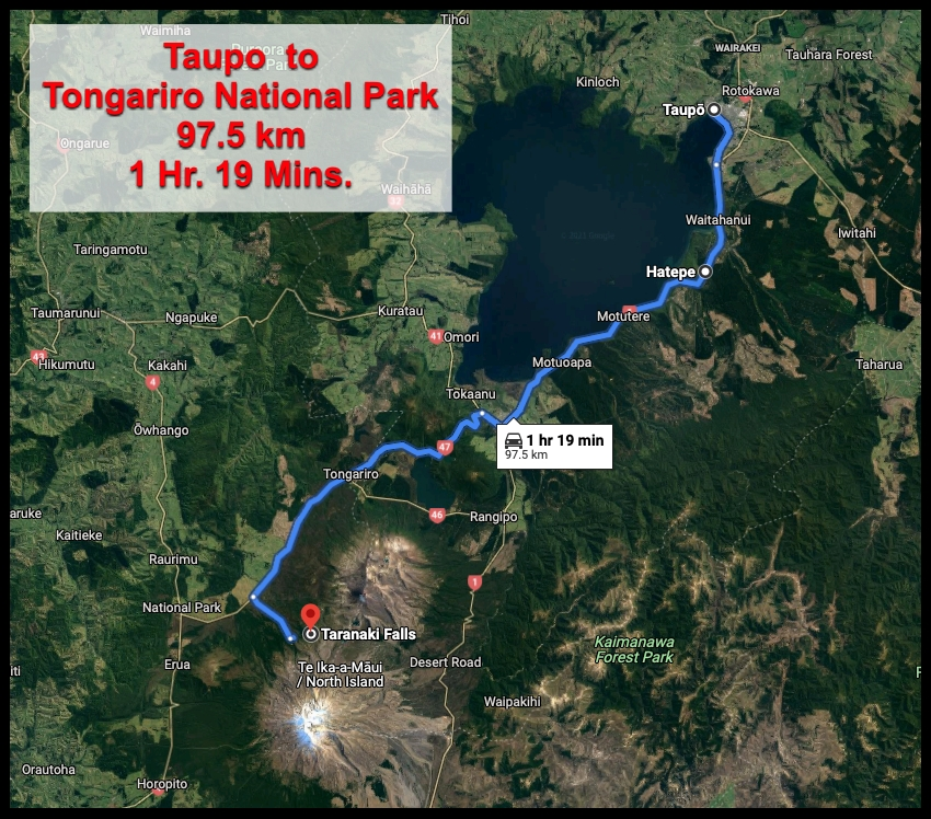 Map from Taupo to Tongariro Park