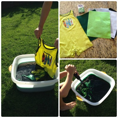 How to dye clothes with fabric dye for DIY Halloween costumes.