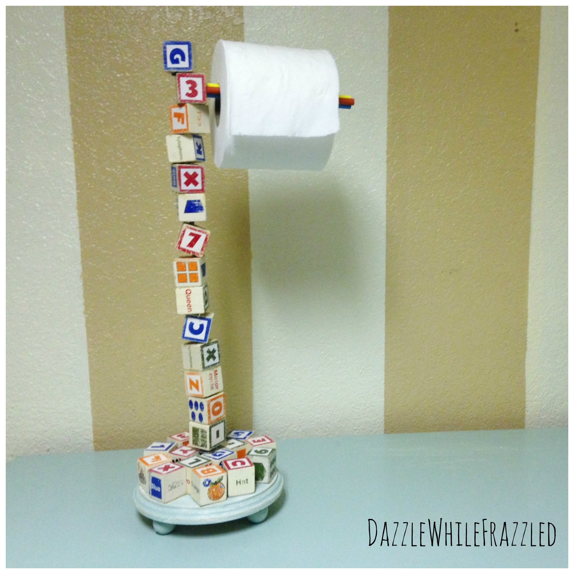 DIY Wooden Letter Block Toilet Paper Roll Holder