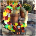 DIY Thanksgiving Turkey Wreath with Felt Leaves