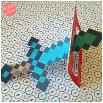 DIY Minecraft Diamond Sword Birthday Craft Gift Card Holder | DazzleWhileFrazzled.com