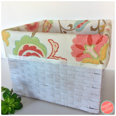 How to make no sew fabric basket liners for pretty home storage solutions.