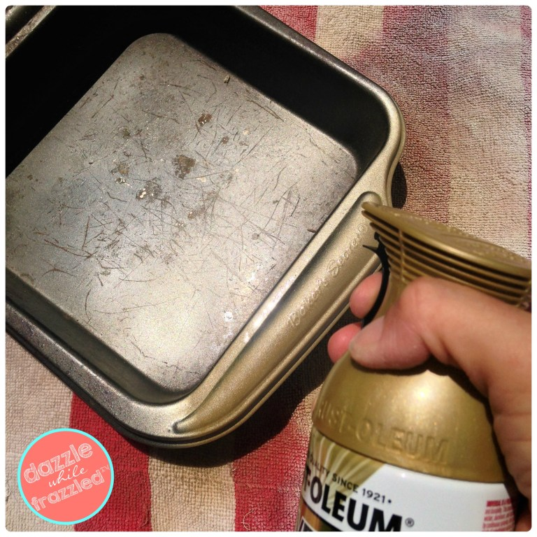 Spray paint old baking pan for DIY wall frame art.