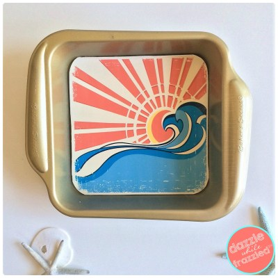 DIY beach home decor with DIY repurposed baking pan wall frame art.
