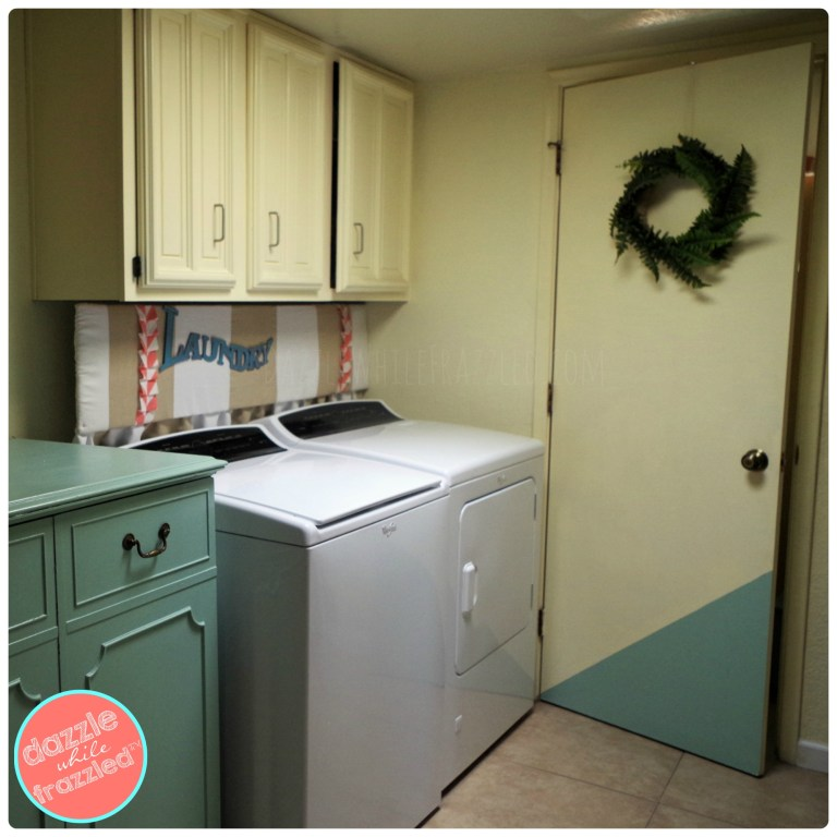 Add color to small laundry room powder room with DIY home decor