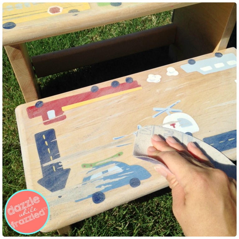 Redo a kids step stool by sanding and priming for DIY step stool makeover with paint