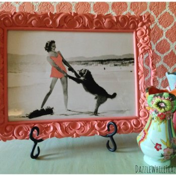 How to turn a small serving tray into DIY frame for vintage photograph.