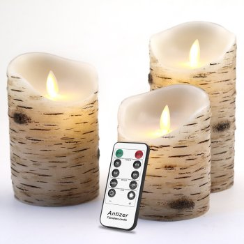 Use flameless candles with faux birch wood for autumn home decor | DazzleWhileFrazzled.com