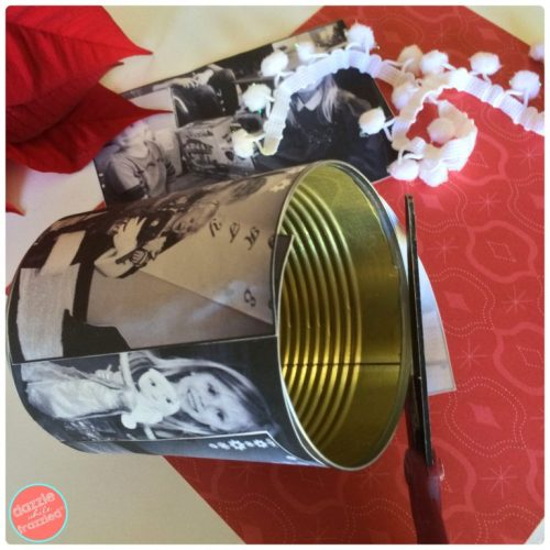 Make a holiday photo tin can vase in 4 easy steps | DazzleWhileFrazzled.com