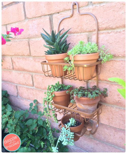 How to make a shower caddy vertical planter | DazzleWhileFrazzled.com