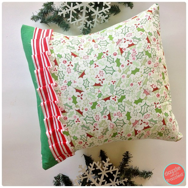 Easy to sew envelope pillow tutorial using Christmas fabric for DIY holiday pillow cover | DazzleWhileFrazzled.com