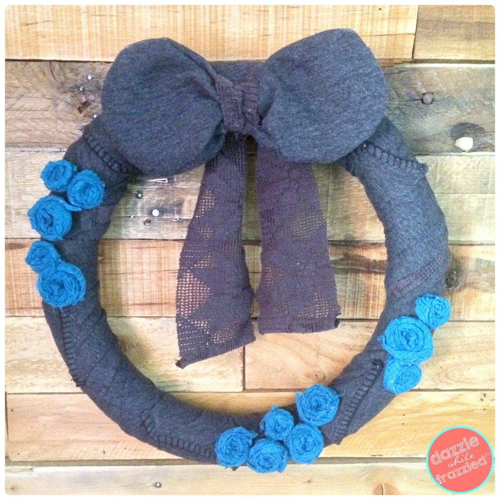 DIY Sweater Winter Wreath with Upcycled Scarf Rosettes | DazzleWhileFrazzled.com