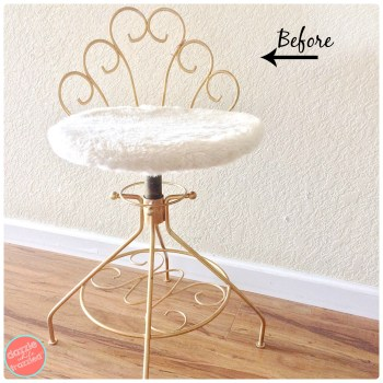 Turn grandma's old vintage vanity stool into cute modern desk chair for kids bedroom decor.