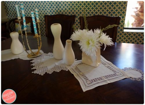 DIY No Sew 10 Minute Vintage Linens Table Runner | DazzleWhileFrazzled.com