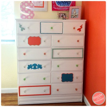 How to make a thrifty Ethan Allen girls bedroom dresser knock off for $20.