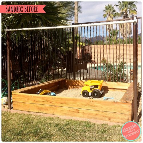 How to sew a fabric canopy cover for a kids backyard sandbox. Simple DIY sewing craft. DazzleWhileFrazzled.com